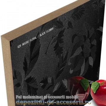 Panou MDF Negru floral 629 super lucios AGT high gloss