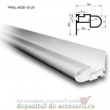 Profil maner semirotund dubla perie 18mm lungimea 2,5m aluminiu