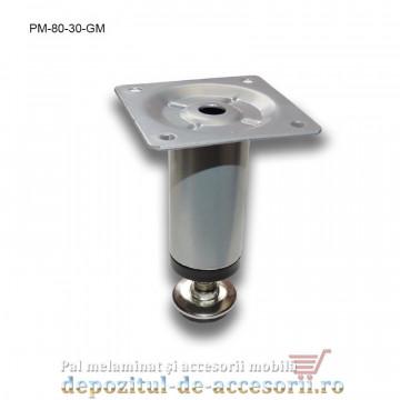 Picior metalic mobilier H80 Ø30mm gri metalizat