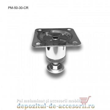 Picior metalic mobilier H50 Ø30mm cromat