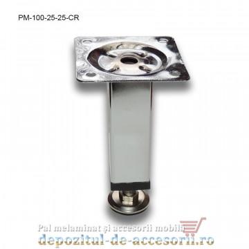 Picior metalic mobilier H100 25x25mm profil pătrat cromat