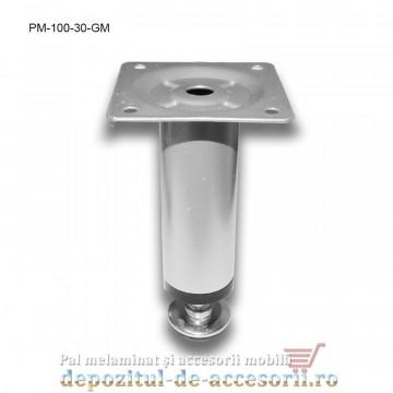 Picior metalic mobilier H100 Ø30mm gri metalizat