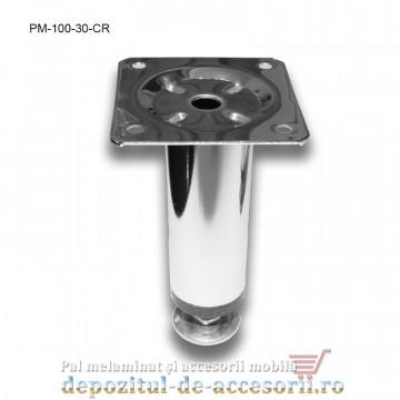 Picior metalic mobilier H100 Ø30mm cromat