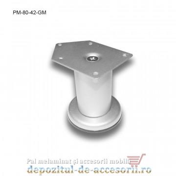 Picior metalic mobilier H80 Ø42mm gri metalizat