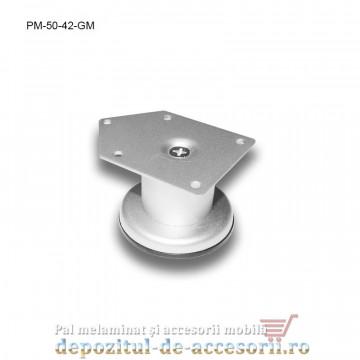 Picior metalic mobilier H50 Ø42mm gri metalizat