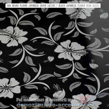 Panou MDF Negru floare japoneza H64 super lucios Isik Siyah japon cicegi high gloss