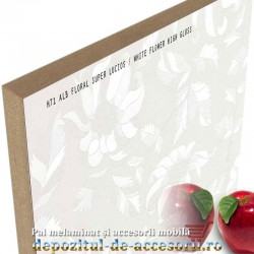 Panou MDF Alb floral 466 super lucios Stillay Cicekli beyaz high gloss