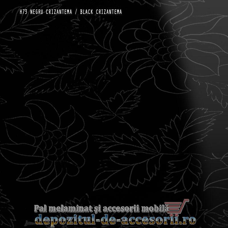 Panou MDF Negru crizantema H73 super lucios Isik Cicekli siyah high gloss