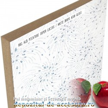 Panou MDF Alb picaturi H81 super lucios Isik Beyaz damila high gloss