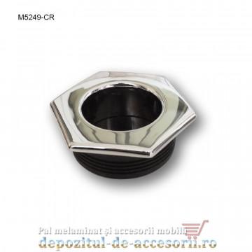 Maner mobilier ingropat plastic hexagonal finisaj cromat M5249-CR