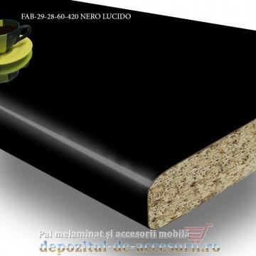 Blat de bucătărie lucios NERO LUCIDO 28x600x4200mm FAB Grup