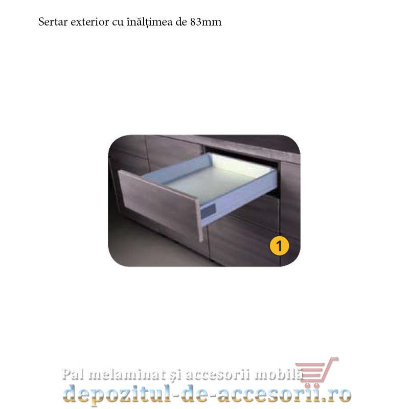Sertar laterale metalice 500x83mm tip Tandembox extragere totală amortizare la inchidere DTC