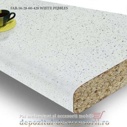 Blat de bucătărie mat WHITE PEBBLES 28x600x4200mm FAB Grup