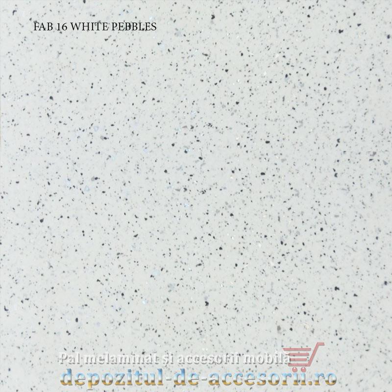 Blat de bucatarie mat WHITE PEBBLES dimensiuni 28x600x4200mm FAB Grup FAB 16