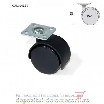 Role mobilier duble negre Ø40mm pivotante prindere cu flansa 41.0042.042.50