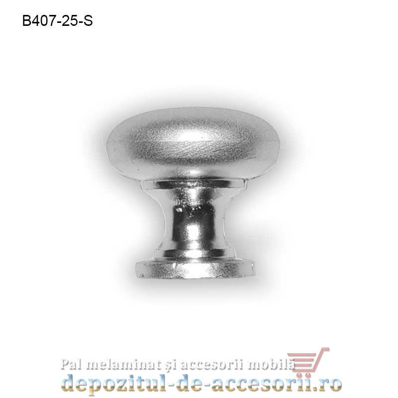 Buton metalic mobilier B407-25-S Ø25mm satinat